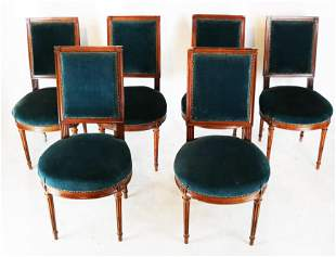 Set of Six Louis XVI-Style Side Chairs
