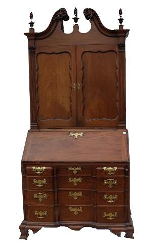 Chippendale-Style Block Front Secretary Bookcase
