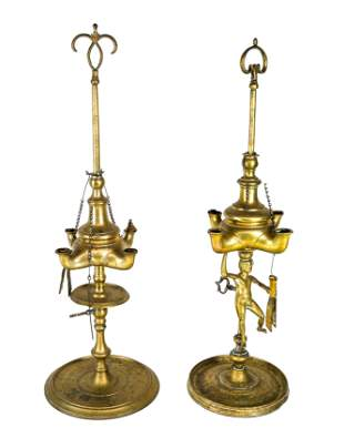 Two Indian Brass Candelabra