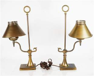 Pair of Antique Brass Lamps