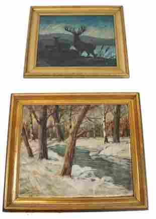 J. STARR - L YOUNG: Stag & Winter Landscape 2 Works