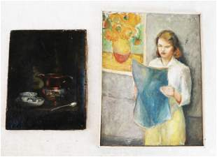 Two Oil on Canvas Paintings: Portrait & Still Life