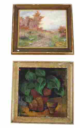 Two Oil on Canvas Paintings: Landscape, Still Life