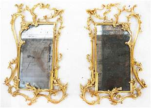 Matched Pair of Rococo Gilt Wood Mirrors