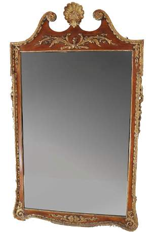 Carved Gilt Mahogany Mirror With Shell Crest