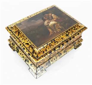 English Victorian Gilt & Painted Box