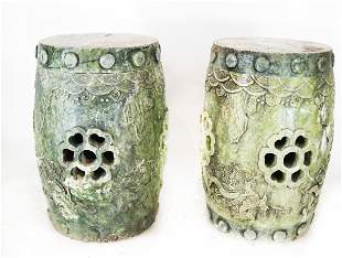 Pair of Chinese Marble Garden Stools