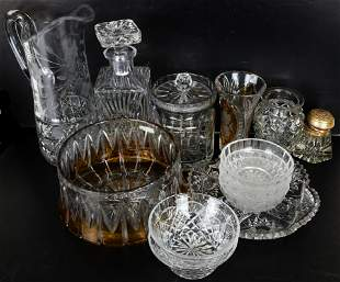 Large Group of Crystal and 1 Glass