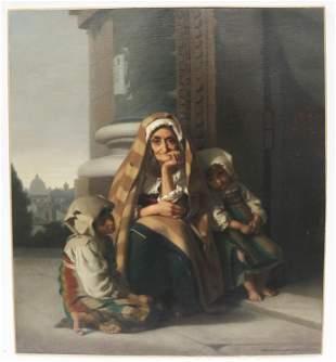Rudolf LEHMANN: Beggars on Steps - Painting