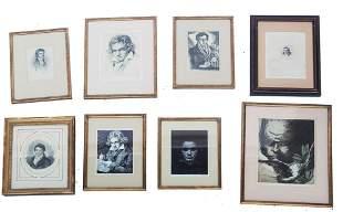 Group of Eight Beethoven Etchings / Engravings