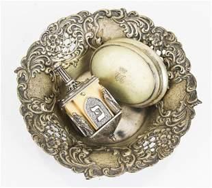 Three Silver Items: Box, Bowl, Dreidel