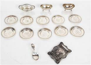 Sterling Silver Lot: Salts, Nut Dishes, Tray