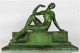 Art Deco Bronze of a Reclining Lady