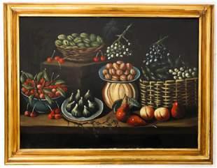 Italian School: Still Life - Oil on Canvas Paintin