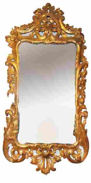 Antique Continental Gilt Wood Mirror