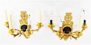 Pair of 19th C. Russian Bronze Wall Sconces