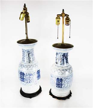Pair of Chinese Blue & White Porcelain Lamps