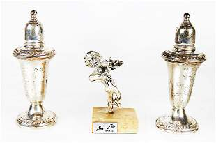 Pair Sterling Silver Shakers & Figurine