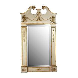 Antique Italianate Cream & Gilt Cupid Mirror