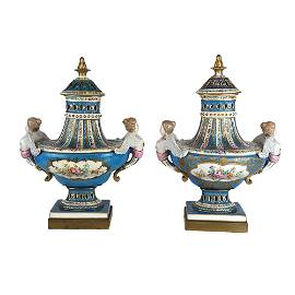 Pair Meissen Vases with Covers