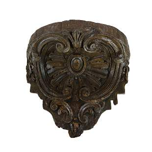 Antique Rococo Wood Carved Wall Bracket