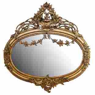 Oval Carved Gilt Mirror