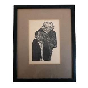 Two Men - Woodblock Print