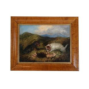 ARNFIELD: Two Dogs Rabbiting - Painting