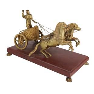 Gilt Bronze Charioteer & Horses Statue