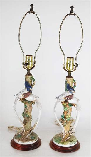 Pair of English Porcelain Bird Lamps