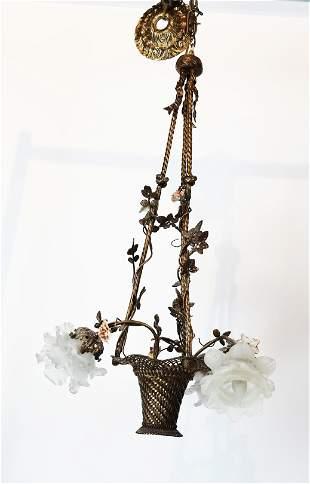 Antique Bronze Mesh Basket Form Light Fixture
