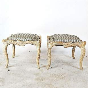 Pair Faux Branch Cream Benches