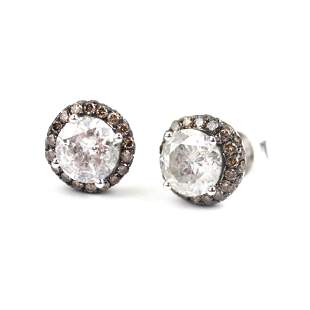 Pair of 18K Gold & Diamond Stud Earrings