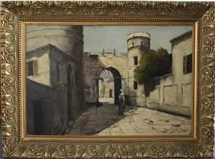 "Raoul BERTHOLDI: ""A Street in Madrid"" - Oil Painti"