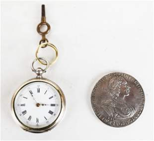 Cylindre Pocket Watch & Russian Silver Coin