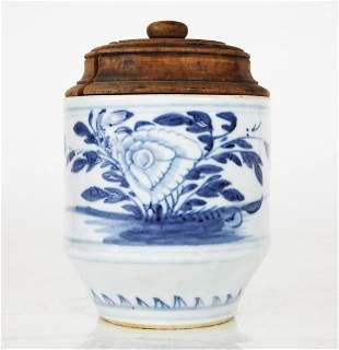 Ming Dynasty Blue & White Covered Jar