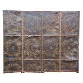 Tooled Leather FourPanel Floor Screen