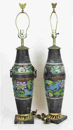 Pair Chinese Cloisonne Lamps