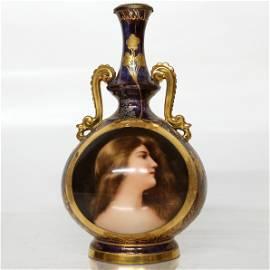 """Royal Vienna Porcelain Portrait Vase: """"Odalisque"""""""