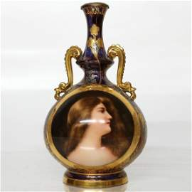 "Royal Vienna Porcelain Portrait Vase: ""Odalisque"""