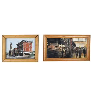 Andrew LENAGHAN: Two City Scene Works - Paintings