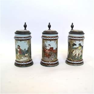 Set of Three Mettlach Steins