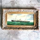 J. CLARK: Steamship - Oil Painting