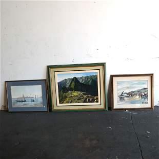 Three Framed Watercolors