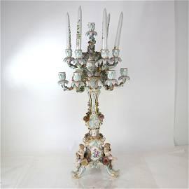 Large Meissen Porcelain Candelabra