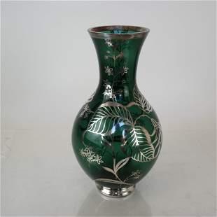 Tall Silver Overlay Vase