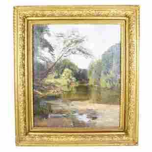 River Landscape - Oil Painting