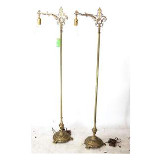 Pair of Gothic-Style Gilt Bronze Floor Lamps