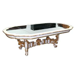 Baroque-Style Mirror-Top Dining Table