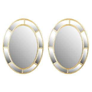 Pair of Gilt Wood Oval Mirrors